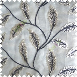Black cream color beautiful floral big size leaf embroidery pattern with transparent background zigzag designs sheer curtain