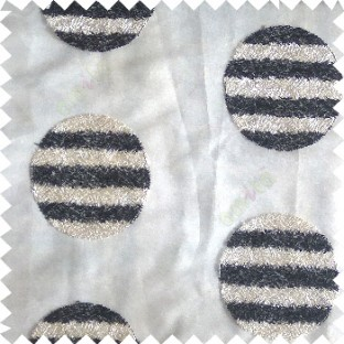 Black cream color geometric circles shapes texture finished embroidery designs with transparent background horizontal stripes sheer curtain