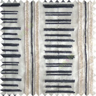 Black cream color horizontal and vertical embroidery stripes with transparent background sheer curtain