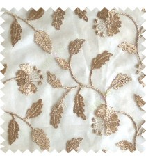 Light brown silver color beautiful natural flower leaf vertical flowing embroidery texture finished with transparent net fabric see through sheer curtain