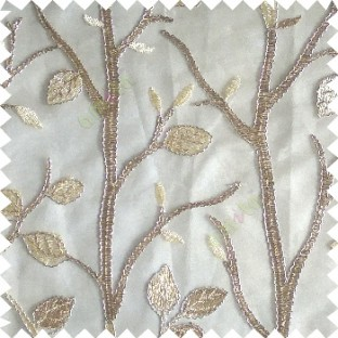 Light brown silver color natural tree leaf elegant look texture finished embroidery designs traditional patterns transparent background sheer curtain