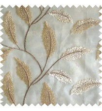 Beige cream color beautiful floral big size leaf embroidery pattern with transparent background zigzag designs sheer curtain