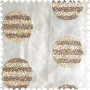 Beige cream color geometric circles shapes texture finished embroidery designs with transparent background horizontal stripes sheer curtain