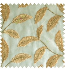 Green gold cream color beautiful floral big size leaf embroidery pattern with transparent background zigzag designs sheer curtain