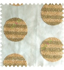Green gold color geometric circles shapes texture finished embroidery designs with transparent background horizontal stripes sheer curtain