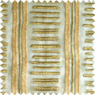 Green gold color horizontal and vertical embroidery stripes with transparent background sheer curtain