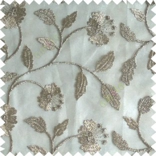 Beige silver color beautiful natural flower leaf vertical flowing embroidery texture finished with transparent net fabric see through sheer curtain