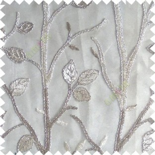 Beige silver color natural tree leaf elegant look texture finished embroidery designs traditional patterns transparent background sheer curtain