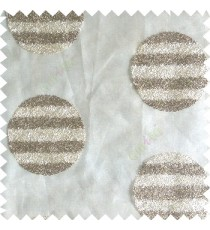 Cream brown color geometric circles shapes texture finished embroidery designs with transparent background horizontal stripes sheer curtain