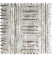 Cream brown color horizontal and vertical embroidery stripes with transparent background sheer curtain