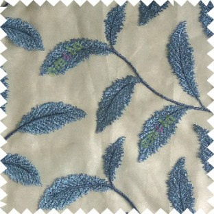 Royal blue color beautiful floral big size leaf embroidery pattern with transparent background zigzag designs sheer curtain