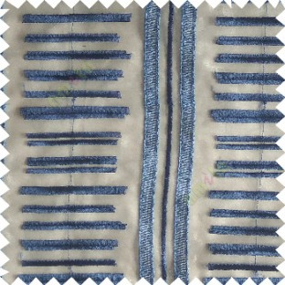 Royal blue color horizontal and vertical embroidery stripes with transparent background sheer curtain