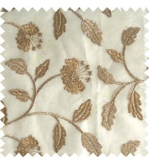 Golden brown silver color beautiful natural flower leaf vertical flowing embroidery texture finished with transparent net fabric see through sheer curtain