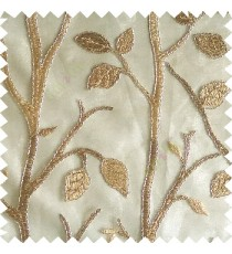 Golden brown silver color natural tree leaf elegant look texture finished embroidery designs traditional patterns transparent background sheer curtain
