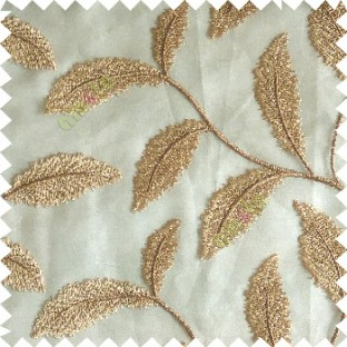 Gold color beautiful floral big size leaf embroidery pattern with transparent background zigzag designs sheer curtain