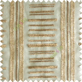 Gold color horizontal and vertical embroidery stripes with transparent background sheer curtain