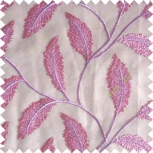 Pink purple color beautiful floral big size leaf embroidery pattern with transparent background zigzag designs sheer curtain
