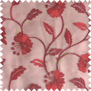 Red silver color beautiful natural flower leaf vertical flowing embroidery texture finished with transparent net fabric see through sheer curtain