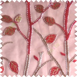 Red silver color natural tree leaf elegant look texture finished embroidery designs traditional patterns transparent background sheer curtain