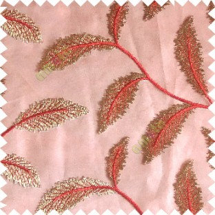 Red gold color beautiful floral big size leaf embroidery pattern with transparent background zigzag designs sheer curtain