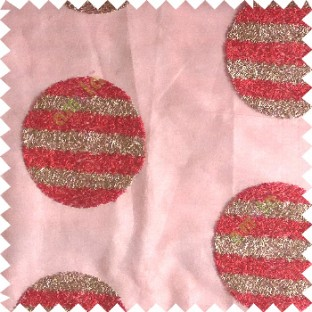 Red gold color geometric circles shapes texture finished embroidery designs with transparent background horizontal stripes sheer curtain
