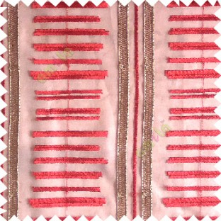 Red gold color horizontal and vertical embroidery stripes with transparent background sheer curtain