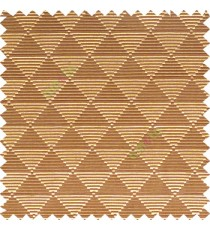 Dark chocolate brown gold color geometric triangle shapes horizontal lines texture finished dice slant crossing stripes polyester main curtain