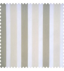 Cream color background with bold vertical stripes with dark and light brown color designs transparent fabric polyester sheer curtain