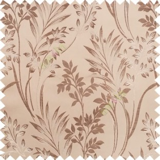 Brown and gold color beautiful design floral pattern texture finished surface with smooth background main curtain fabric