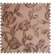 Dark brown color Beautiful flower pattern texture finished designs smooth finished background polyester main curtain fabric