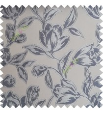 Grey blue color Beautiful flower pattern texture finished designs smooth finished background polyester main curtain fabric