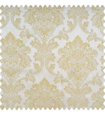 Beige color traditional texture damask finished damask pattern with polyester base fabric leaves swirls main curtain
