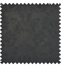 Pure black color beautiful big damask design texture surface floral leaves vertical and horizontal embossed lines polyester main curtain