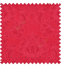 Red color beautiful big damask design texture surface floral leaves vertical and horizontal embossed lines polyester main curtain