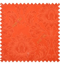 Bright orange color beautiful big damask design texture surface floral leaves vertical and horizontal embossed lines polyester main curtain