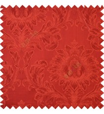 Dark red color beautiful big damask design texture surface floral leaves vertical and horizontal embossed lines polyester main curtain