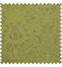 Green color beautiful big damask design texture surface floral leaves vertical and horizontal embossed lines polyester main curtain