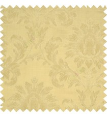Beige color beautiful big damask design texture surface floral leaves vertical and horizontal embossed lines polyester main curtain