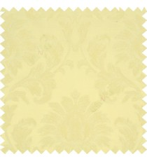 Light lemon yellow color beautiful big damask design texture surface floral leaves vertical and horizontal embossed lines polyester main curtain