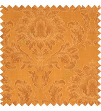 Golden brown color beautiful big damask design texture surface floral leaves vertical and horizontal embossed lines polyester main curtain
