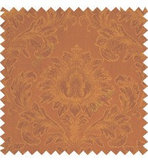 Rust brown color beautiful big damask design texture surface floral leaves vertical and horizontal embossed lines polyester main curtain
