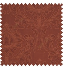 Sienna brown color beautiful big damask design texture surface floral leaves vertical and horizontal embossed lines polyester main curtain