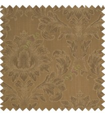 Brown color beautiful big damask design texture surface floral leaves vertical and horizontal embossed lines polyester main curtain