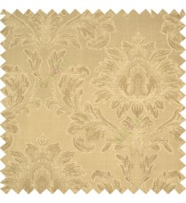 Light brown color beautiful big damask design texture surface floral leaves vertical and horizontal embossed lines polyester main curtain