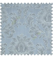 Blue color beautiful big damask design texture surface floral leaves vertical and horizontal embossed lines polyester main curtain