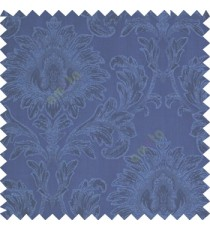 Royal blue color beautiful big damask design texture surface floral leaves vertical and horizontal embossed lines polyester main curtain