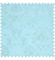 Sky blue color beautiful big damask design texture surface floral leaves vertical and horizontal embossed lines polyester main curtain