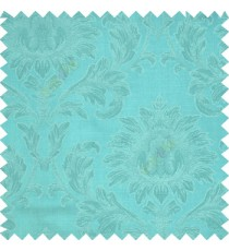 Aqua blue color beautiful big damask design texture surface floral leaves vertical and horizontal embossed lines polyester main curtain