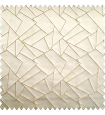 Light brown color abstract deigns embossed lines geometric triangles rectangular shapes polyester embroidery finished on polyester base main curtain