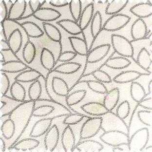 Cream Grey Color Floral Leaves Pattern Soft Finished Polyester Base